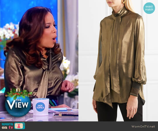 Charani pussy-bow lame blouse by By Malene Birger worn by Sunny Hostin  on The View
