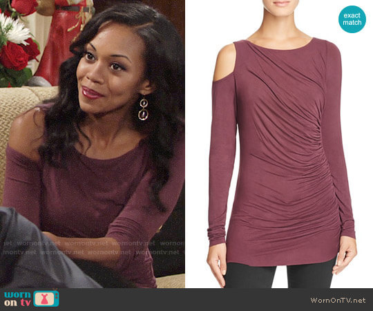 Bailey 44 Savy Cold Shoulder Top in Plum worn by Mishael Morgan on The Young & the Restless