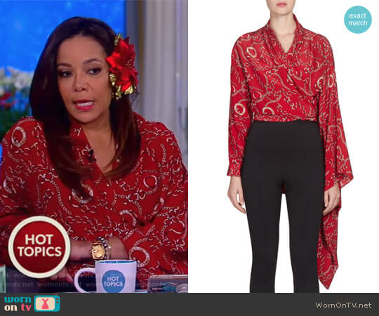 Chains Silk Crepe Wrap Mono Top by Balenciaga worn by Sunny Hostin  on The View