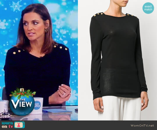 Button-embellished Sweater by Balmain worn by Paula Faris on The View