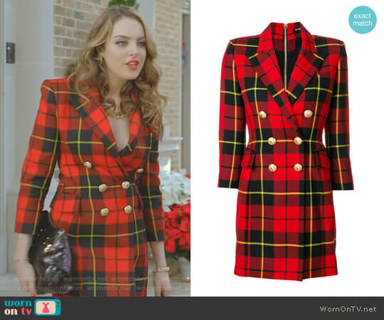 Tartan Blazer Dress by Balmain worn by Elizabeth Gillies on Dynasty