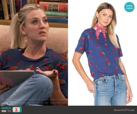 Banner Day Cherries Tee worn by Kaley Cuoco on The Big Bang Theory
