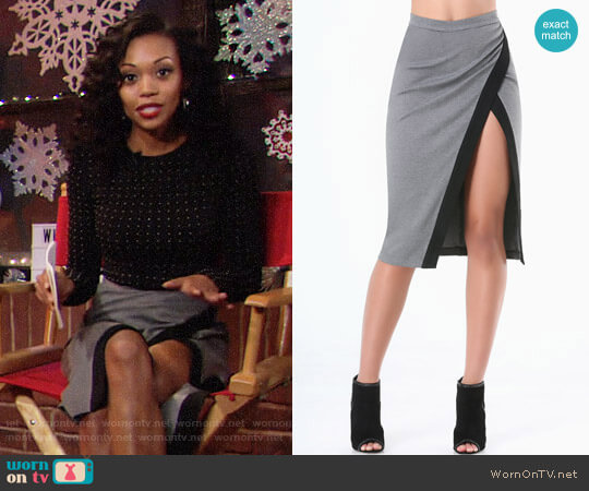 Bebe Heathered Colorblock Skirt worn by Hilary Curtis (Mishael Morgan) on The Young & the Restless