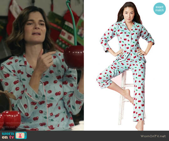 Cherry Hearts Stretch Classic PJ Set by BedHead Pajamas worn by Betsy Brandt on Life in Pieces