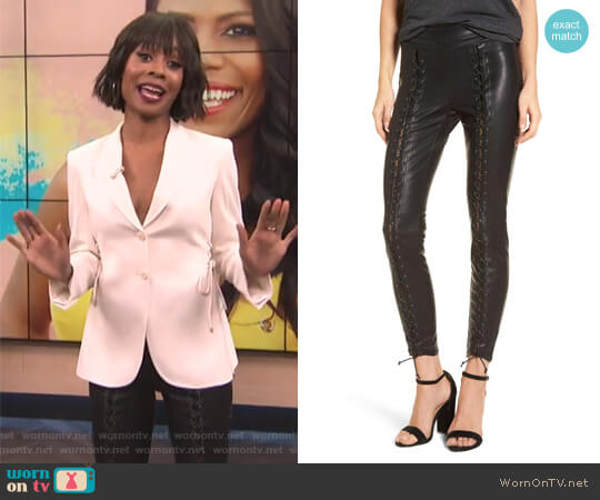 Lace-Up Faux Leather Pants by BlankNYC worn by Zuri Hall on E! News