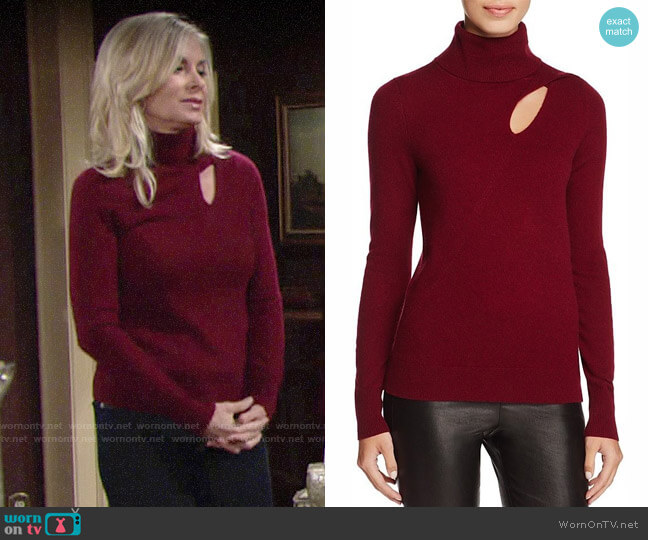 C by Bloomingdales Cashmere Cutout Turtleneck Sweater worn by Ashley Abbott (Eileen Davidson) on The Young & the Restless