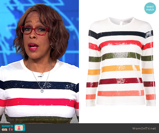 Sequin Striped Jumper by Carolina Herrera worn by Gayle King on CBS This Morning