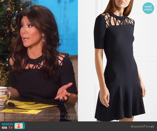 Frances cutout ribbed stretch-knit mini dress by Cushnie et Ochs worn by Julie Chen on The Talk