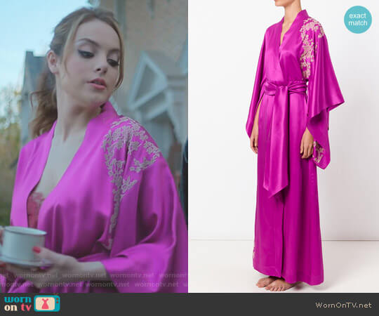 Lacy Long Kimono by Carine Gilson worn by Elizabeth Gillies on Dynasty
