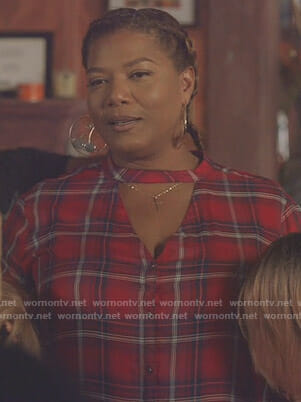 Carlotta's red plaid choker neck shirt on Star