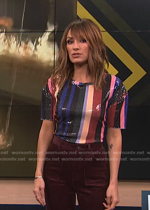 Catt's multicolored sequin top on E! News