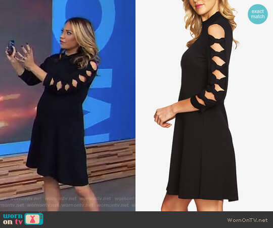 Cotton Bow-Sleeve Sweater Dress by Cece worn by Ginger Zee on Good Morning America