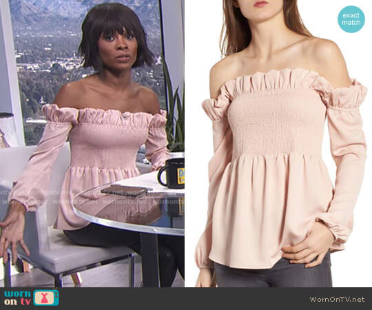 Smocked Top by Chelsea28 worn by Zuri Hall  on E! News