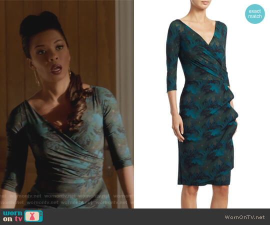 Three Quarter Sleeve Wrap Dress by Chiara Boni La Petite worn by Angel Parker on Marvels Runaways