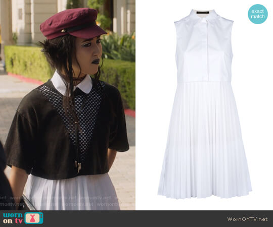 White Pleated Skirt Shirt Dress by Christopher Kane worn by Lyrica Okano on Marvels Runaways