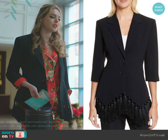 'Violetta' Blazer by Cinq a Sept worn by Elizabeth Gillies on Dynasty