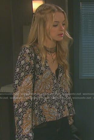 WornOnTV: Claire's cream crochet bell sleeve dress on Days
