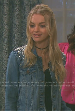 Claire's cropped denim jacket with pearls on Days of our Lives