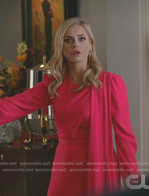 Claudia Blaisdel's red scarf dress on Dynasty
