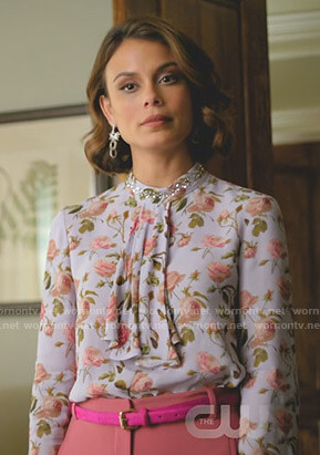 Cristal's blue floral tie neck blouse on Dynasty