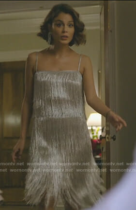 Cristal's metallic fringed top and skirt on Dynasty