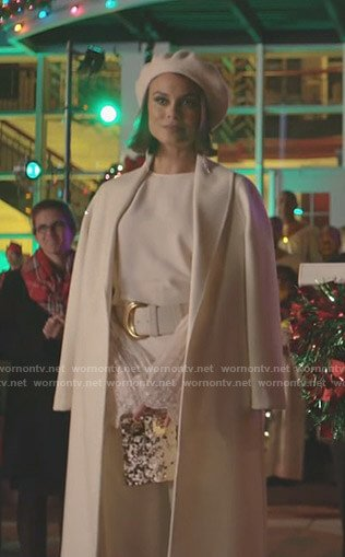 Cristal's white lace bell sleeve top and coat on Dynasty