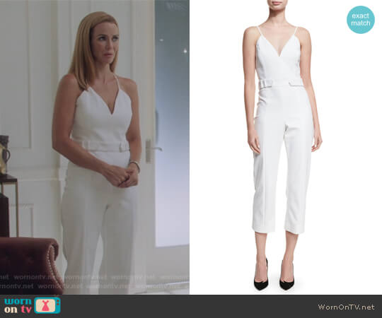 Sleeveless Belted Cropped Jumpsuit by Cushnie Et Ochs worn by Leslie Dean (Annie Wersching) on Marvels Runaways