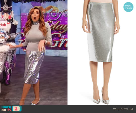 Sequin Midi Pencil Skirt by Diane von Furstenberg worn by Wendy Williams on The Wendy Williams Show