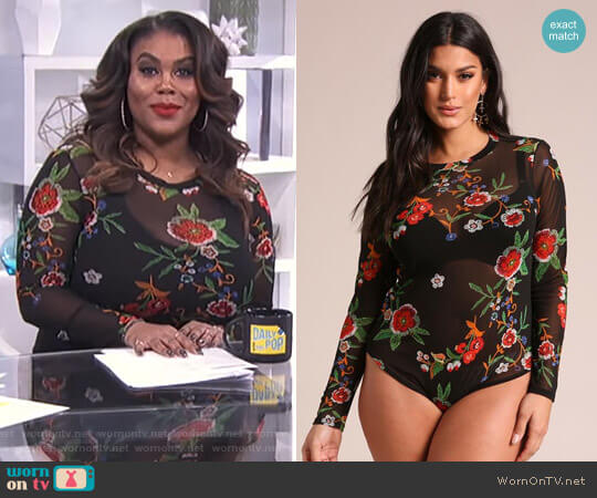 Floral Mesh Bodysuit by Deb Shops worn by Nina Parker  on E! News