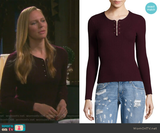 Barbell Rib-Knit Wool Pullover by Derek Lam 10 Crosby worn by Abigail Deveraux (Kate Mansi) on Days of our Lives