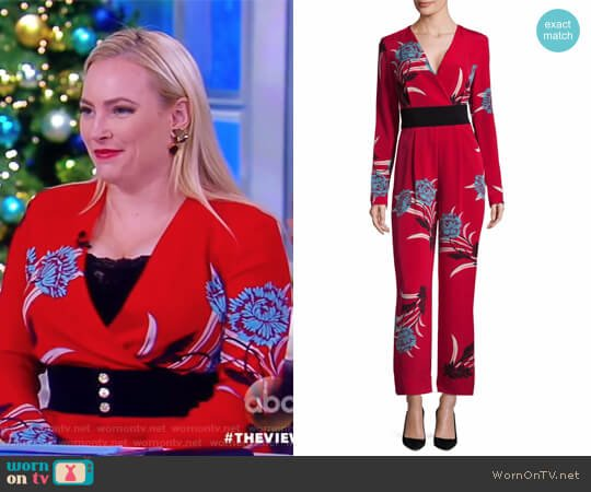WornOnTV: Meghan's Red Floral Print Jumpsuit On The View