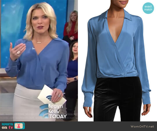 Long-Sleeve Collared Crossover-Bodice Silk Blouse by Diane von Furstenberg worn by Megyn Kelly  on Today