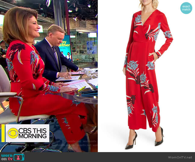 Floral Print Crossover Jumpsuit by Diane von Furstenberg worn by Norah O'Donnell  on CBS This Morning