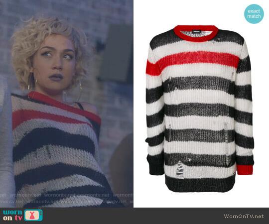 Distressed Striped Sweater by Diesel worn by Jude Demorest on Star