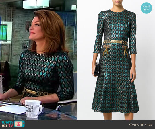 Abito Herlequin Print Dress by Dolce & Gabbana worn by Norah O'Donnell on CBS This Morning