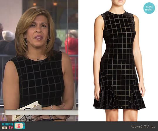 Velvet Window Pane Pattern Dress by Donna Morgan worn by Hoda Kotb on Today