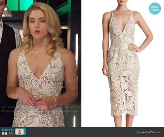 Dress the Population Marie Lace Midi Dress worn by Felicity Smoak (Emily Bett Rickards) on Arrow