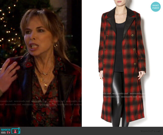 Duster Buffalo Plaid by Free People worn by Kate Roberts (Lauren Koslow) on Days of our Lives