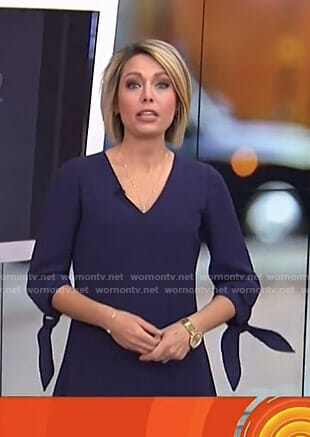 Dylan's navy tie sleeve v-neck dress on Today