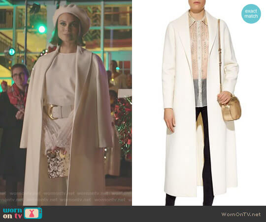 'Amy' Coat by Elie Tahari worn by Nathalie Kelley on Dynasty