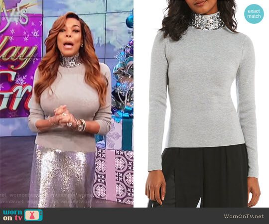 Sequin Neck Turtleneck by Eliza J worn by Wendy Williams on The Wendy Williams Show