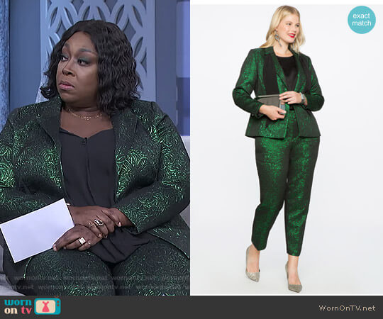 Metallic One Button Blazer by Eloquii worn by Loni Love  on The Real