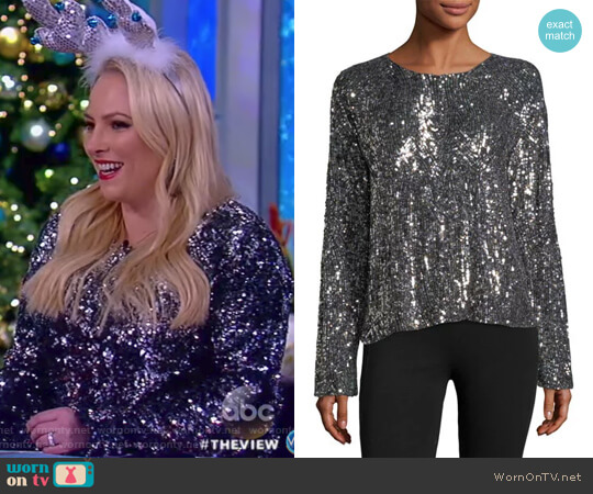 Abilene Crewneck Long-Sleeve Chrome Sequin Top by Equipment worn by Meghan McCain on The View