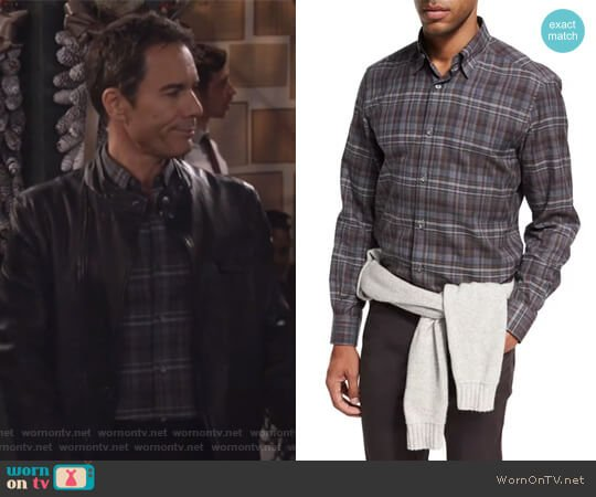 Plaid Cotton Shirt by Ermenegildo Zegna worn by Eric McCormack on Will & Grace