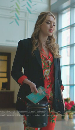 Fallon's black tassel blazer and red floral pajamas on Dynasty