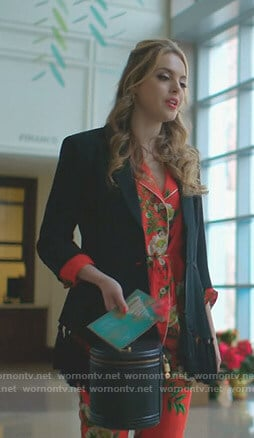 Fallon's red floral pajamas and black tassel blazer on Dynasty
