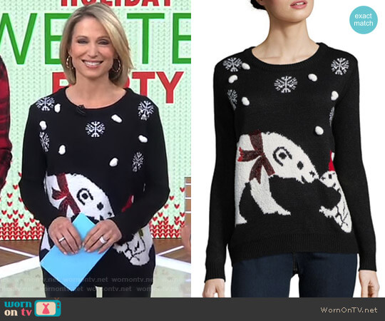 Graphic Roundneck Sweater by Faith & Zoe worn by Amy Robach on Good Morning America