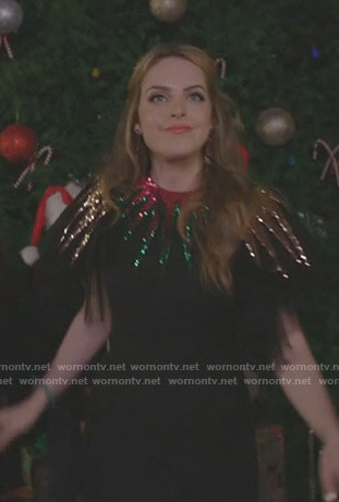 Fallon's black embellished tulle dress on Dynasty