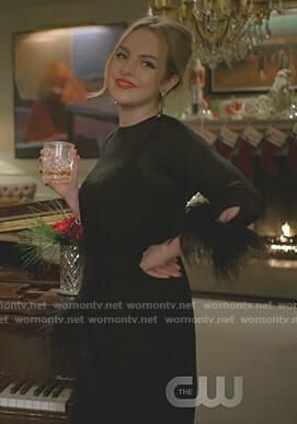 Fallon's black feather trimmed dress on Dynasty