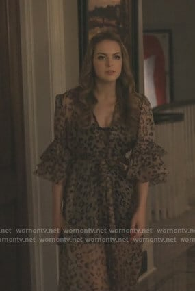 Fallon's leopard print ruffle robe on Dynasty